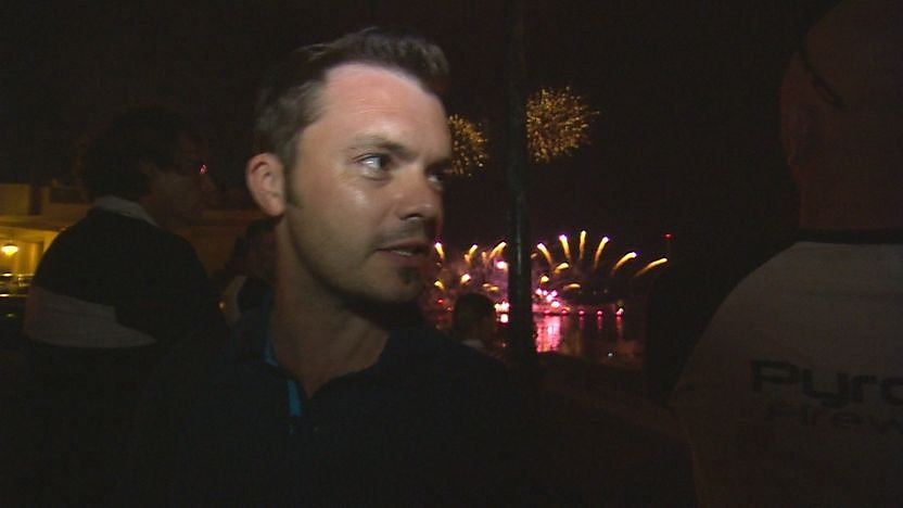 Barney Harwood at the fireworks show.