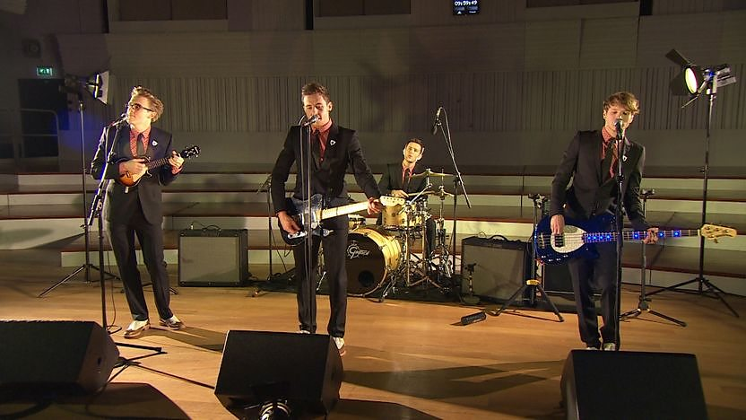 McFly performing in the BBC Philharmonic Studio.