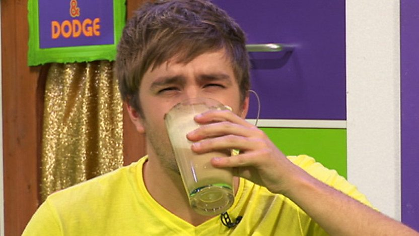 Iain drinking a meat smoothie.