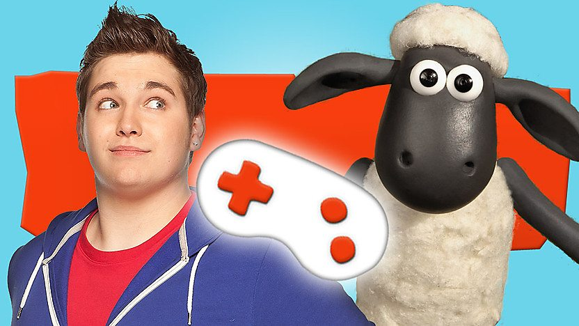 Shaun the sheep next to a white game controller on an orange and blue background.