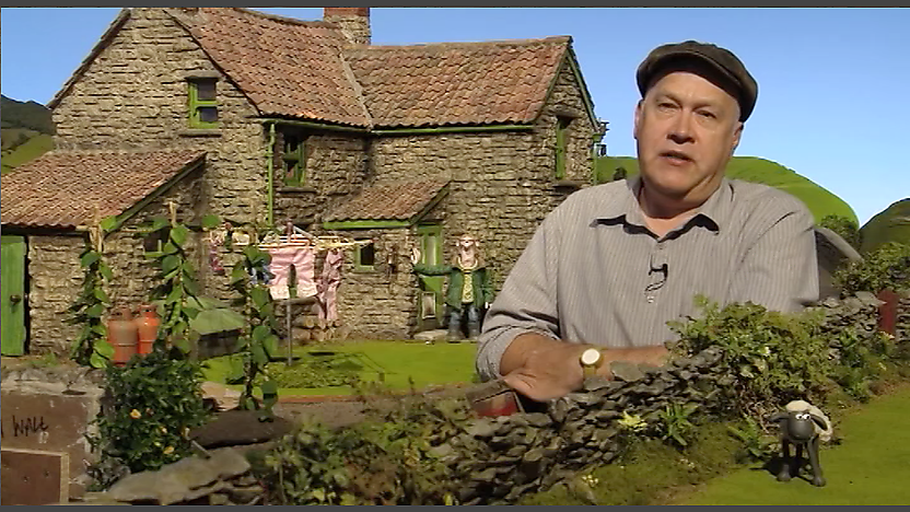 Richard &#34;Golly&#34; Starzak with the Shaun the Sheep set.