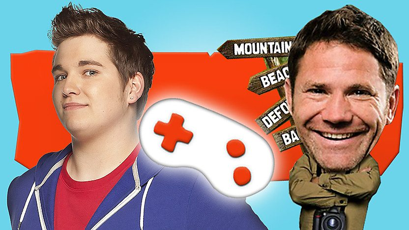 Chris Johnson in a blue hoodie on an orange background next to a white games controller and a Steve Backshall bobblehead.
