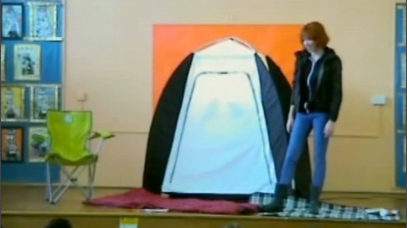 Katherine Mills and a tent