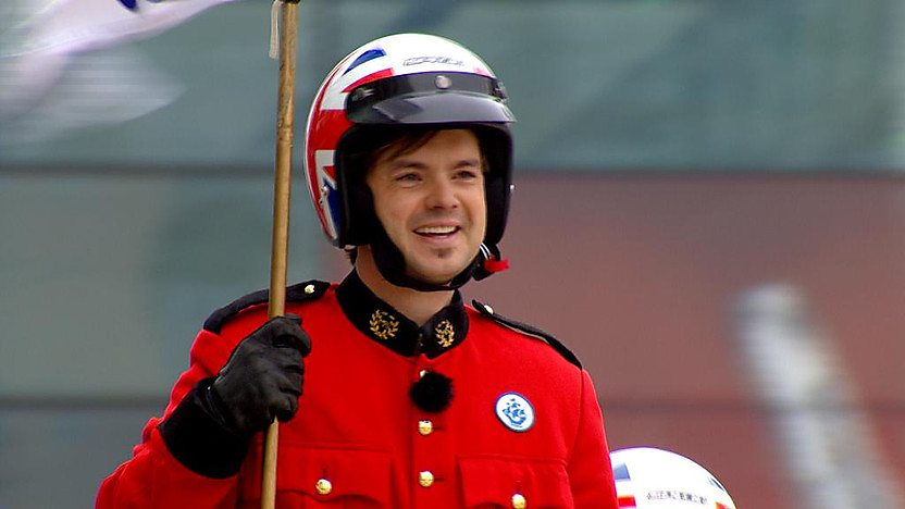 Barney Harwood with the Imps motorcycle display team