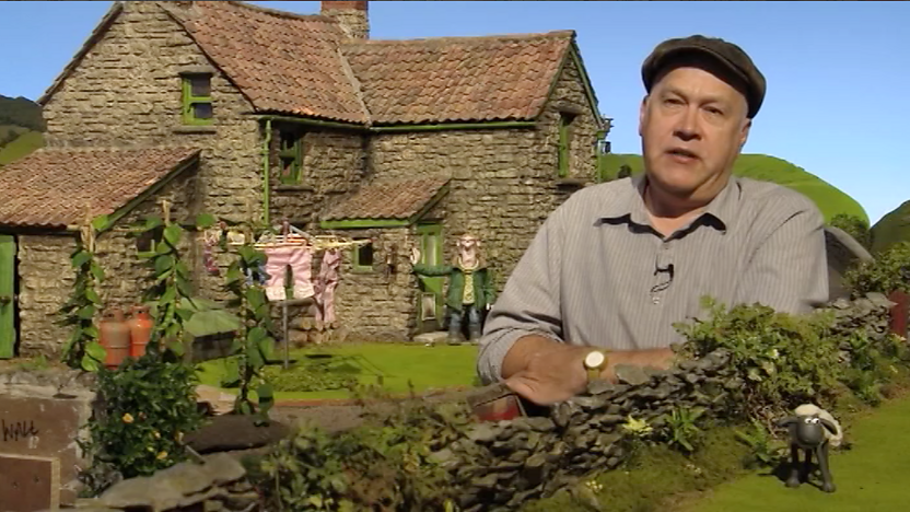 "Richard ""Golly"" Starzak with the Shaun the Sheep set."