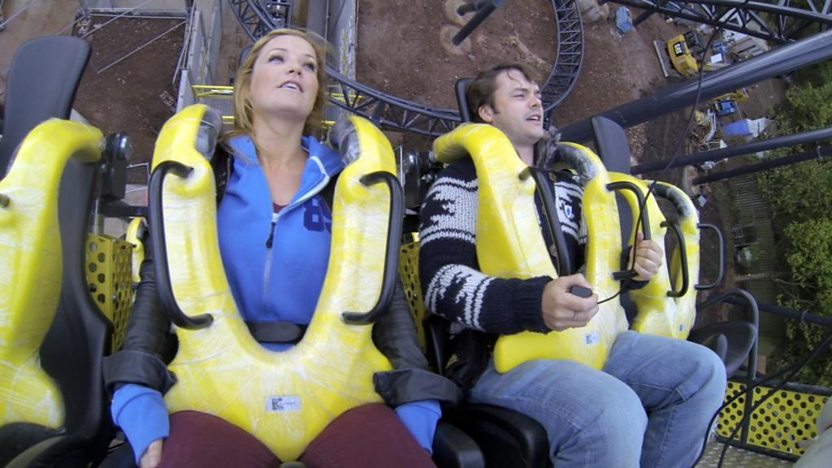 Helen smiling and Barney looking scared on Alton Towers' new Rollercoaster
