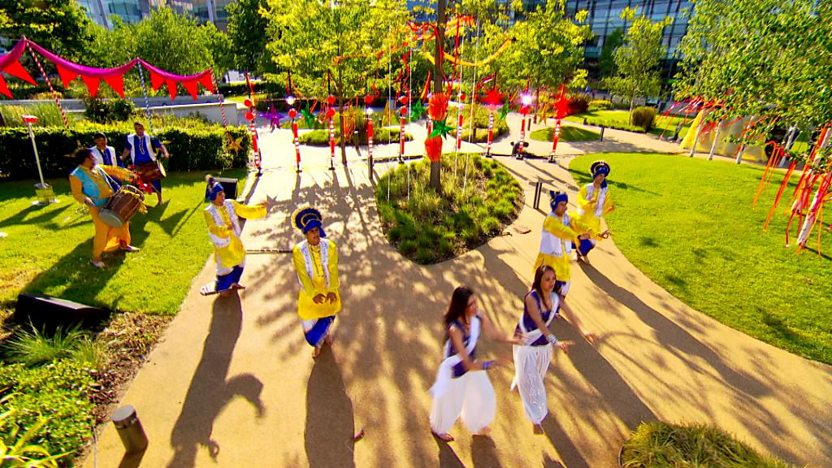 The Punjabi Roots Academy dancing in the Blue Peter garden