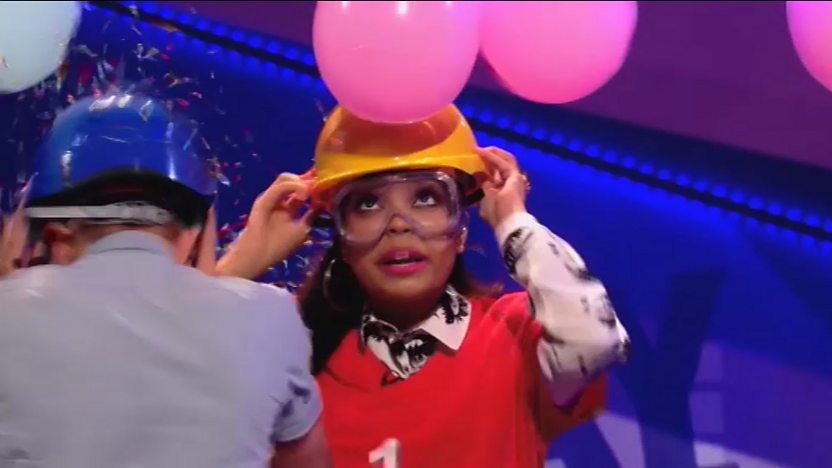 Dionne Bromfield wearing a helmet.