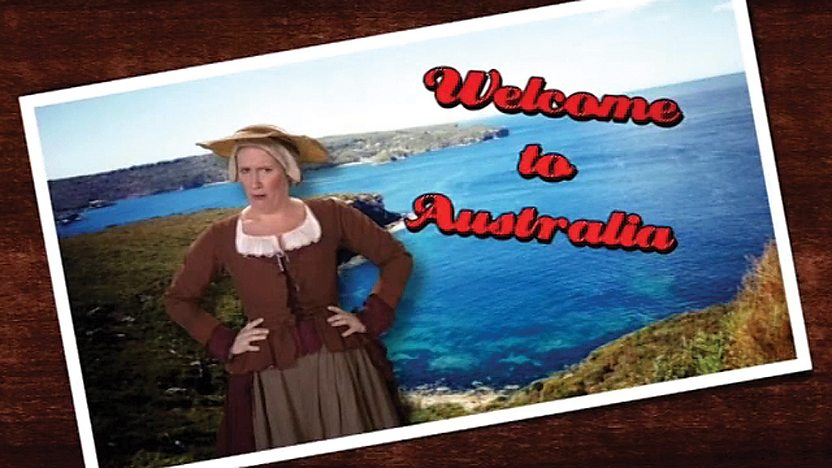 A female, English convict stands in front of an image of Australia