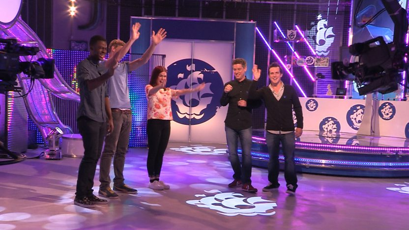 Ben, Freddie, Lindsey, Dick and Dom standing in the Blue Peter studio