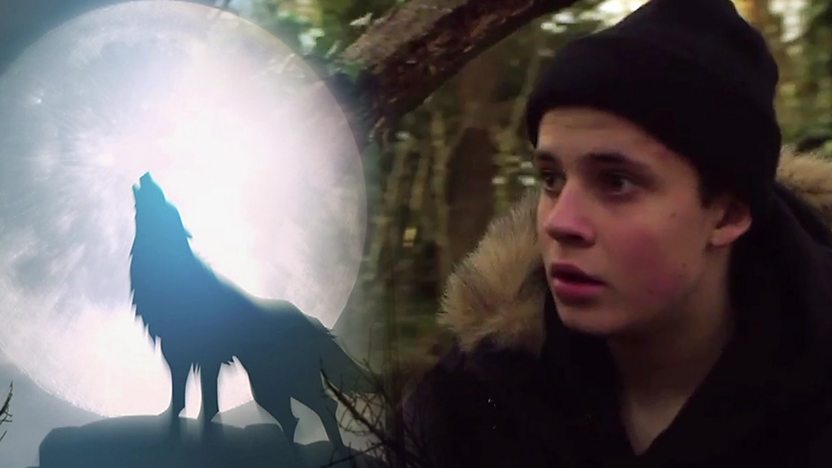 Cel Spellman in the woods, next to an animated wolve, howling at the moon.