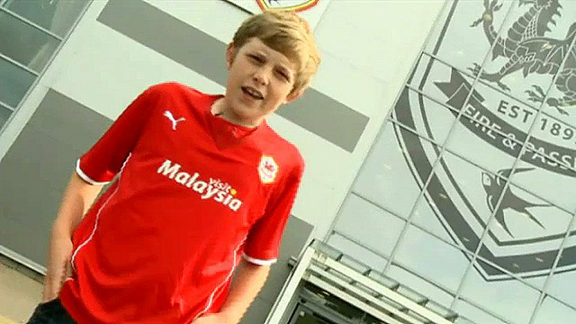 Cardiff City fan Ben looks to camera