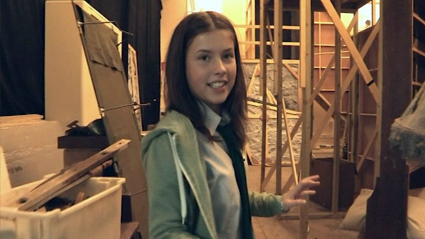 Aimee Kelly, who plays Maddy in Wolfblood, walking around the set.