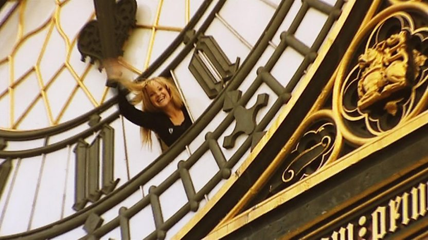 Helen waving out of Big Ben