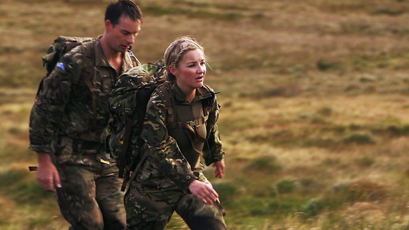Helen running with a marine
