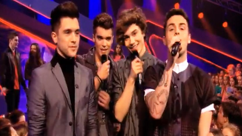 Union J standing on the Friday Download stage.