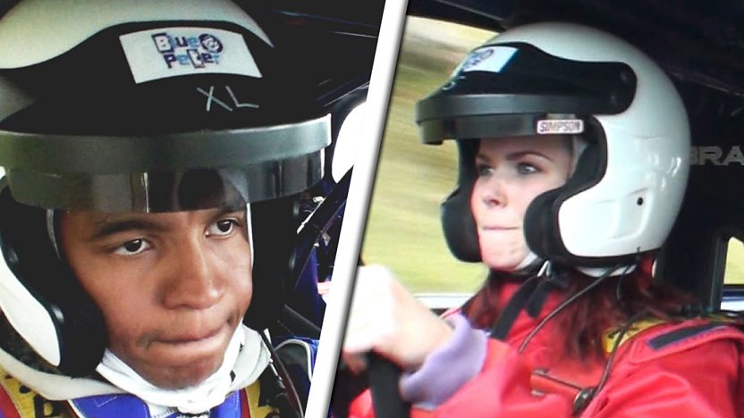 Radzi and Lindsey driving a rally car