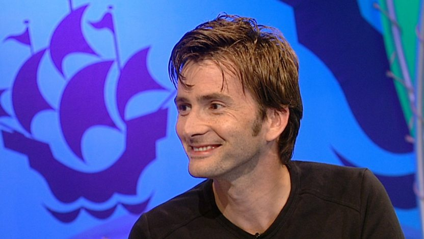 David Tennant with the Blue Peter ship