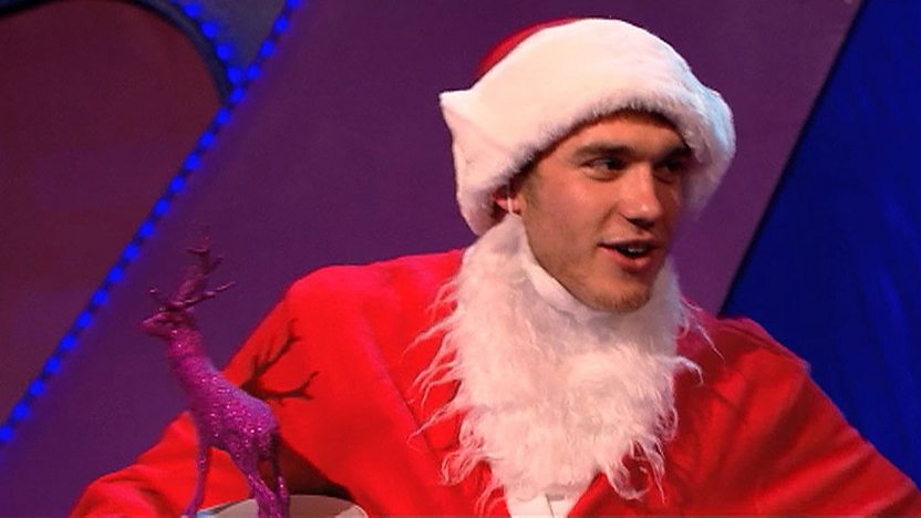 Bobby Lockwood from Wolfblood, dressed as Santa Claus.