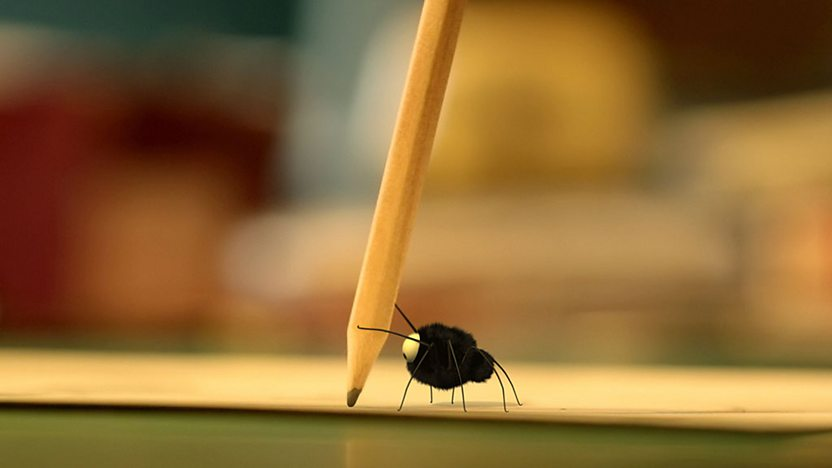 The minuscule spider carrying a pencil.