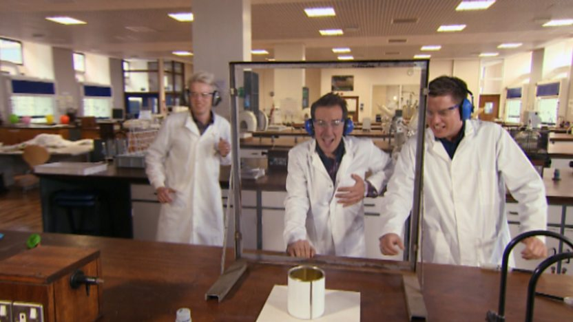 Dick and Dom in a lab.