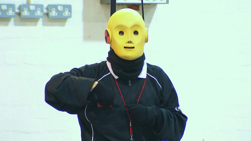 A crash test dummy from Celebrity Driving Academy.