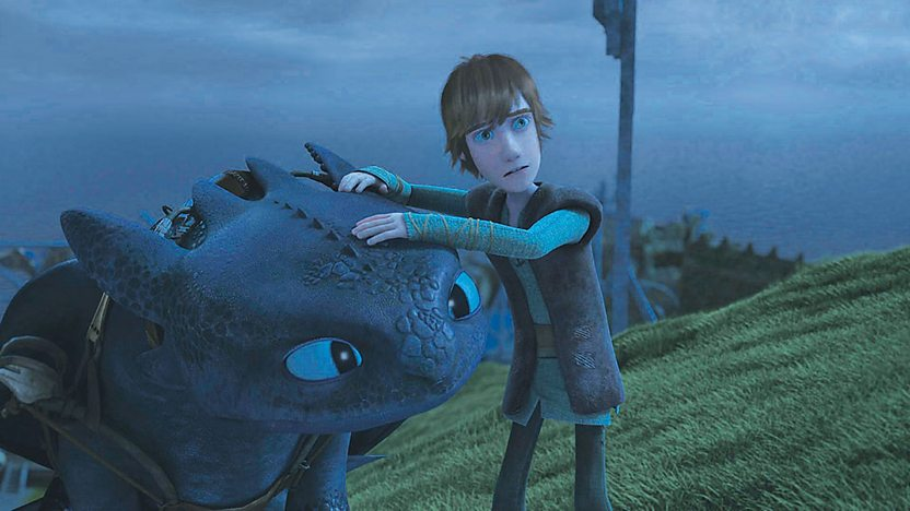 Hiccup and his dragon, Toothless.