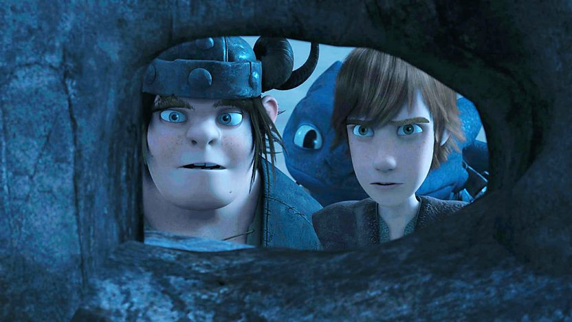 Hiccup, Toothless and Snoutlout from Dragons Riders of Berk, hiding.