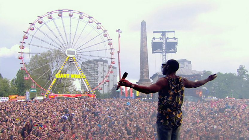 Tinie Tempah on the Big Weekend stage.