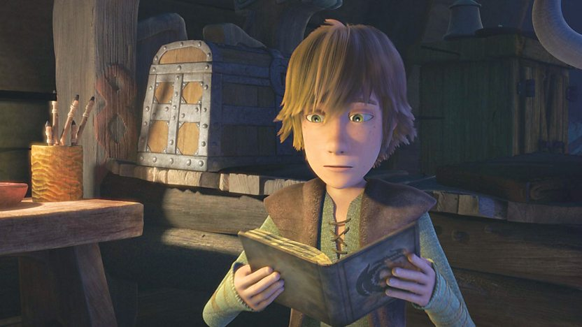 Hiccup reading Bork the Bold's notes on Night Furies.
