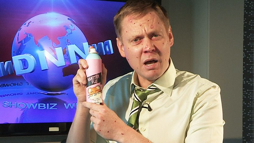 Phil Tyme from DNN, looking ill and holding a spray can marked 'Hamster Flu'.