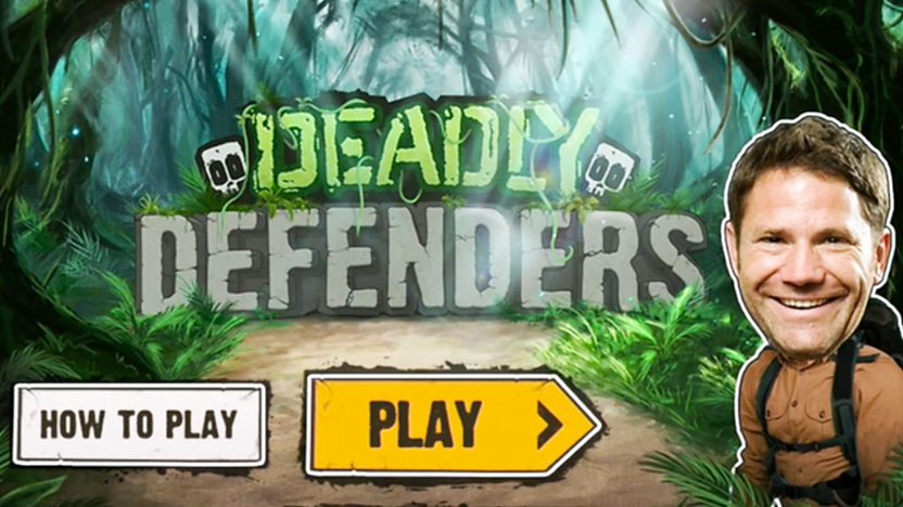 Steve Backshall in the Deadly Defenders game