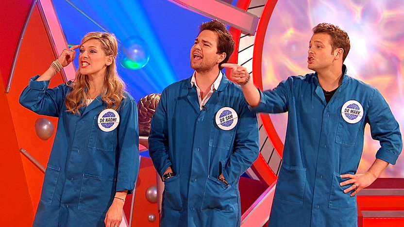 Naomi Wilkinson with Sam and Mark on Ultimate Brain.
