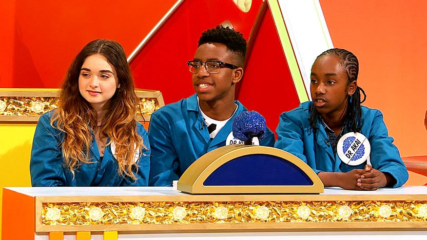 Ruby Morgan, Khalil Madovi and Akai Osei (Zoe-Marie, Josh and Nero from 4 O'Clock Club) on Ultimate Brain.