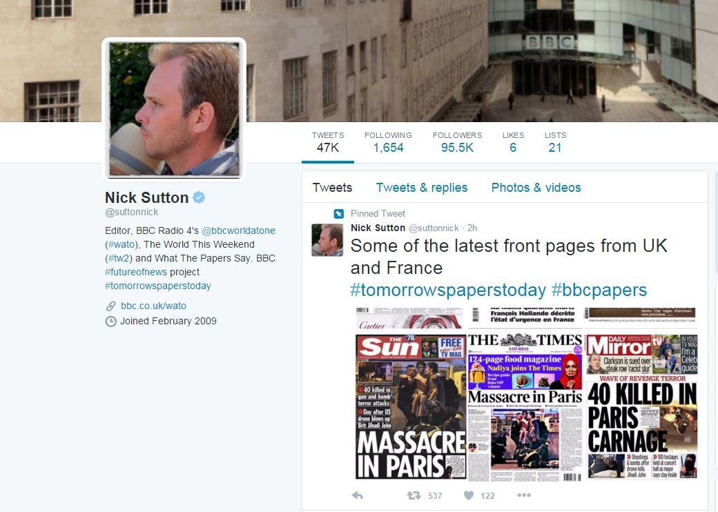 "BBC电台第四台主编Nick Sutton在""推特""上发布了英国和法国部分报纸头版对巴黎连环袭击事件的报道:"