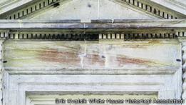 The scorch marks of the fire are still visible today on the White House as two areas have been left unpainted. Erik Kvalsik for the White House Historical Association