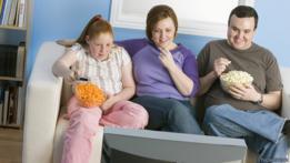 Familia de gente con sobrepeso