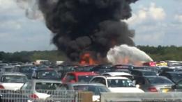 Explosión en el aeropuerto de Blackbushe, en Inglaterra
