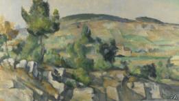 """Fragmento de """"Ladera en Provenza"""", de Paul Cezanne"""