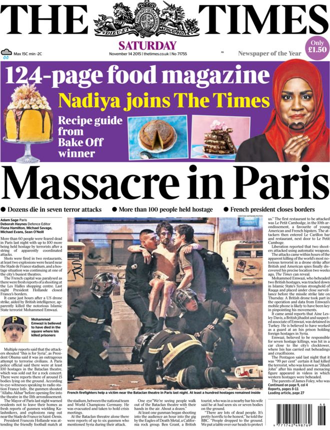 Tờ Times ra tại Anh sáng 14/11/2015