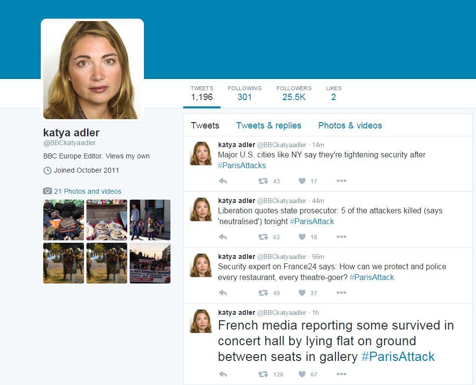 BBC欧洲编辑Katya Adler推特界面