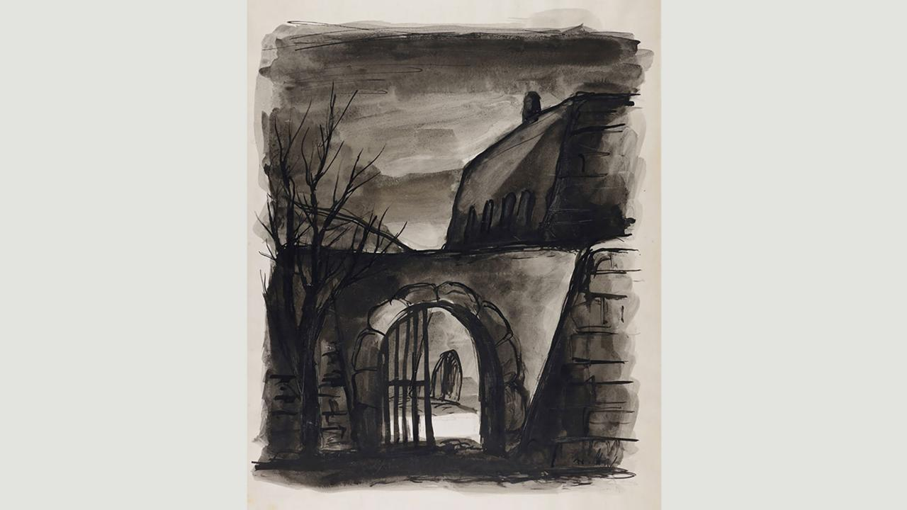 Bedrich Fritta, Rear Entrance (1941-1944) (Credit: Credit: Yad Vashem/Gift of the Prague Committee for Documentation)