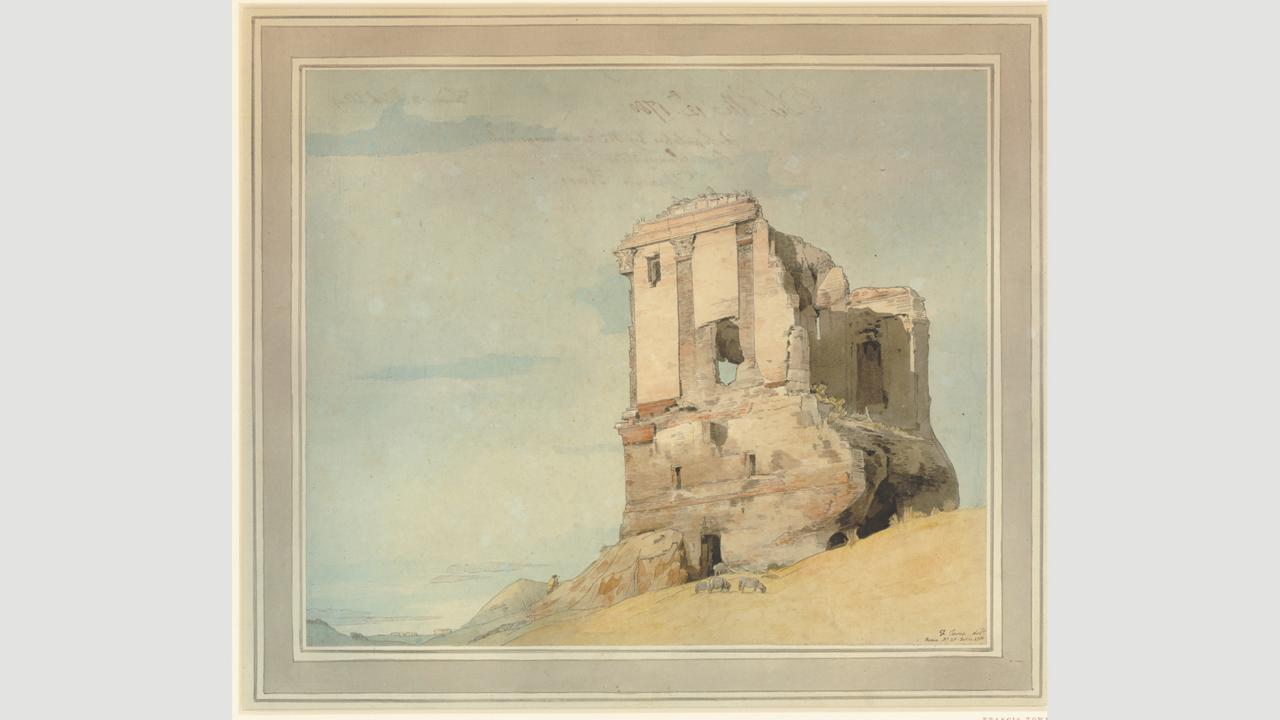 Francis Towne's 1780 watercolour of a ruined tomb (Credit: Credit: The Trustees of the British Museum)