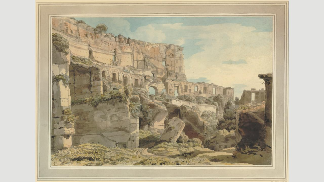 Towne's 1780 watercolour Inside the Colosseum (Credit: Credit: The Trustees of the British Museum)