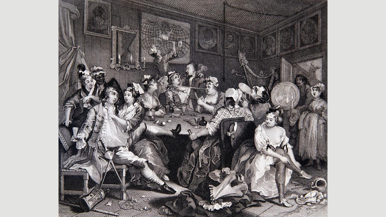 1734 engraving from William Hogarth's A Rake's Progress