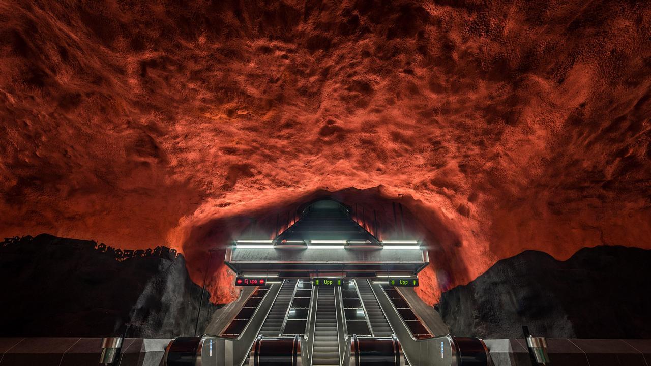 Solna Centrum Metro Station, Stockholm (Credit: Credit: David Bertho / Alamy Stock Photo)