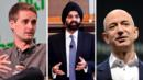Snapchat CEO Evan Spiegal, Mastercard CEO Ajay Banga and Amazon CEO Jeff Bezos. (Getty) (Credit: Getty)