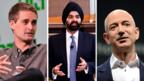 Snapchat CEO Evan Spiegal, Mastercard CEO Ajay Banga and Amazon CEO Jeff Bezos. (Getty)
