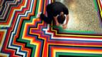 Jim Lambie's painting installation Zobop (Tom Pilston/The Independent/REX)