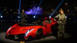 Atop an Italian aircraft carrier, the $4.5m Veneno Roadster makes its dramatic public debut.
